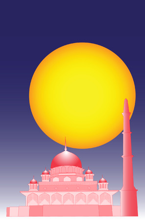 moor: Vector of Islamic mosque with simple 3d effect. Illustration