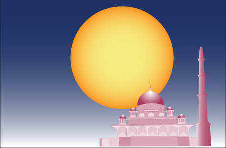 pious: Vector of Islamic mosque with simple 3d effect. Illustration