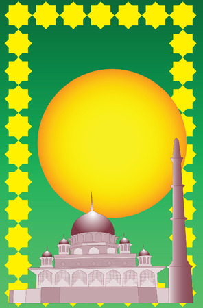 pinnacle: Vector of Islamic mosque with simple 3d effect. Illustration