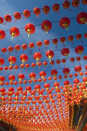 malaysia culture: Hundreds of red lanterns at Thean Hou temple, Kuala Lumpur, Malaysia.