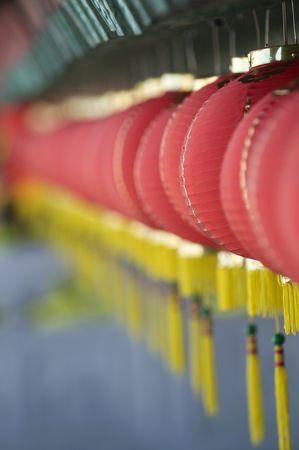 Hundreds of red lanterns at Thean Hou temple, Kuala Lumpur, Malaysia. photo