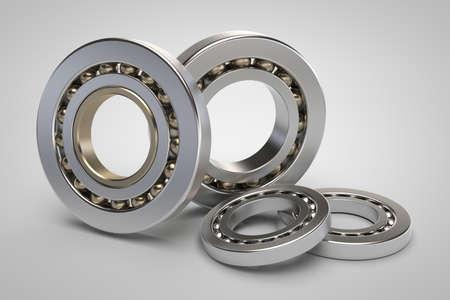 friction: Bearings on white background 3d model render