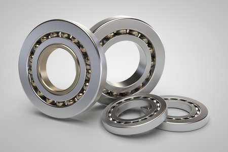 axle: Bearings on white background 3d model render