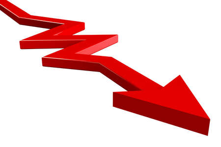 line graph: business red arrow on white background Stock Photo