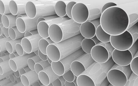 Tubos tubos de PVC aislado sobre fondo blanco. Foto de archivo