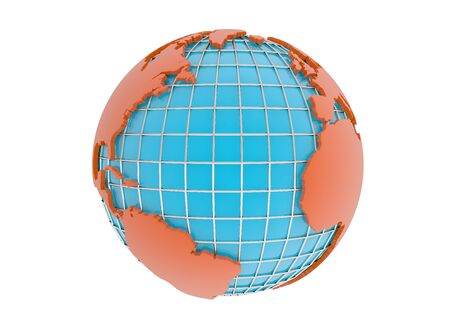 earth 3d model render on white background Banco de Imagens