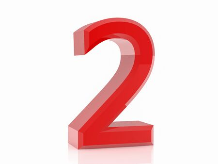 3d red number 2 on white background Stock Photo