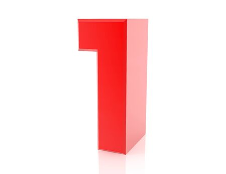 red number 1 on white background 3d rendering