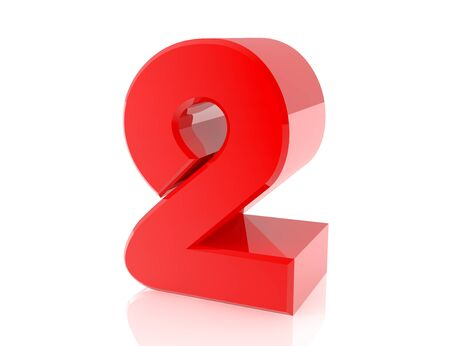 red number 2 on white background 3d rendering