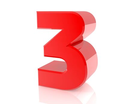 red number 3 on white background 3d rendering
