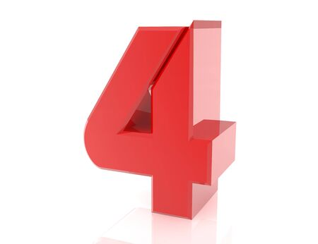 red number 4 on white background 3d rendering