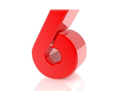 red number 6 on white background 3d rendering Stock Photo