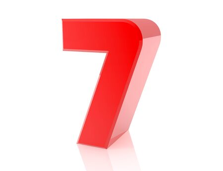 red number 7 on white background 3d rendering Stock Photo