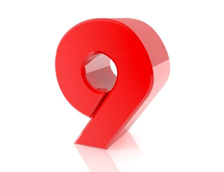 red number 9 on white background 3d rendering Stock Photo