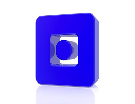 blue number 0 on white background 3d rendering