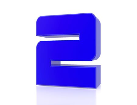 blue number 2 on white background 3d rendering Stock Photo