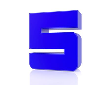 blue number 5 on white background 3d rendering Stock Photo