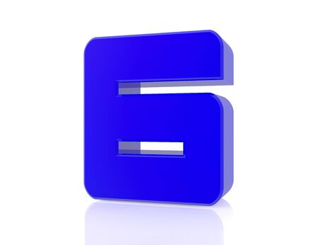 blue number 6 on white background 3d rendering Stock Photo