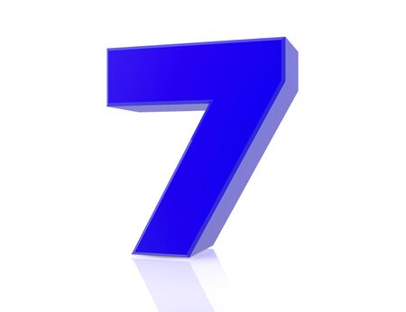 blue number 7 on white background 3d rendering Stock Photo