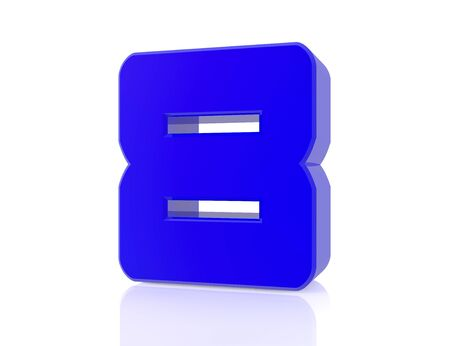 blue number 8 on white background 3d rendering