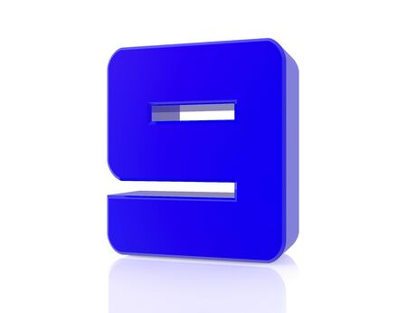 blue number 9 on white background 3d rendering