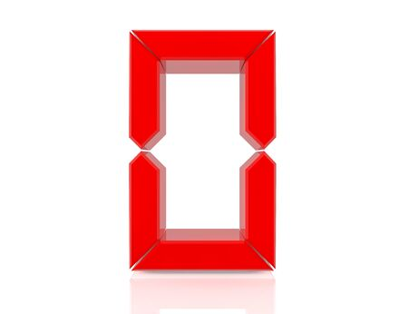 0 zero red word on white background 3D rendering Banco de Imagens