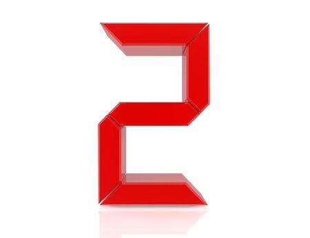 2 two red word on white background 3D rendering Reklamní fotografie