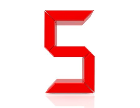 5 five red word on white background 3D rendering Banco de Imagens