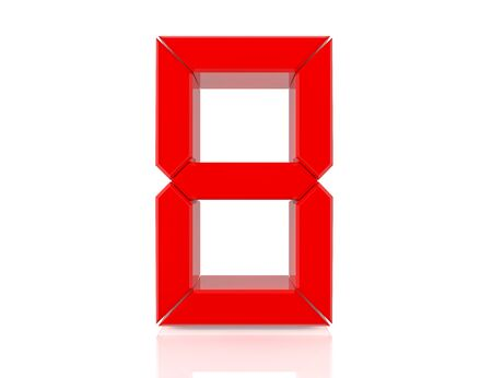8 eight red word on white background 3D rendering