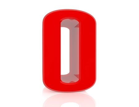 red number 0 on white background 3d rendering