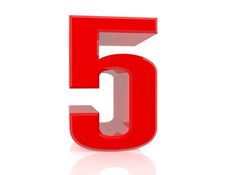red number 5 on white background 3d rendering Stock Photo