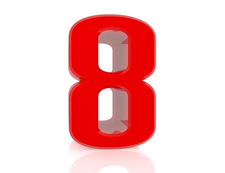 red number 8 on white background 3d rendering