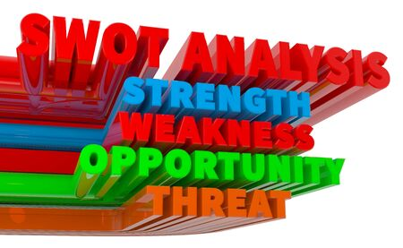3D Colourful SWOT analysis business strategy management  on white background 3d rendering