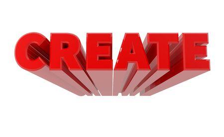 3D ERSTELLEN Wort auf weißem Hintergrund 3D-Rendering Standard-Bild