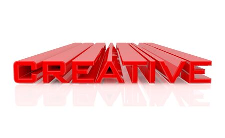 3D CREATIVE word on white background 3d rendering