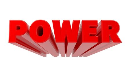 3D POWER word on white background 3d rendering