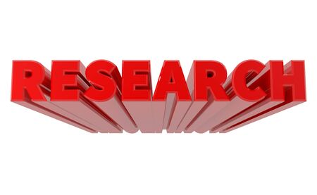 3D RESEARCH word on white background 3d rendering