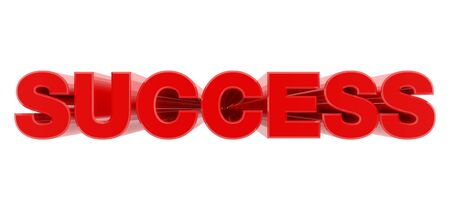 SUCCESS red word on white background illustration 3D rendering