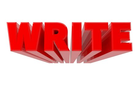 3D WRITE word on white background 3d rendering