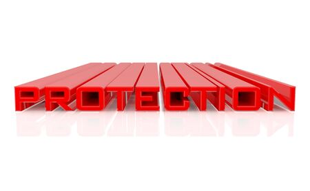 3D PROTECTION word on white background 3d rendering Stok Fotoğraf