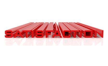 3D-ZUFRIEDENHEIT-Wort auf weißem Hintergrund 3D-Rendering Standard-Bild