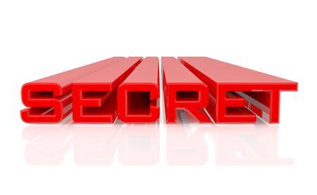 3D SECRET word on white background 3d rendering
