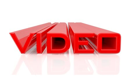 3D VIDEO word on white background 3d rendering Standard-Bild