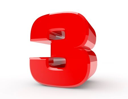 3d red number 3 on white background 3d rendering Stock Photo