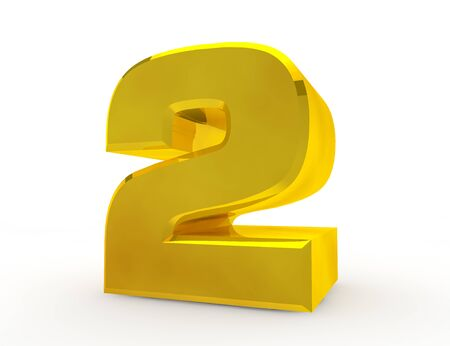 3D Gold Nummer 2 auf weißem Hintergrund 3D-Rendering