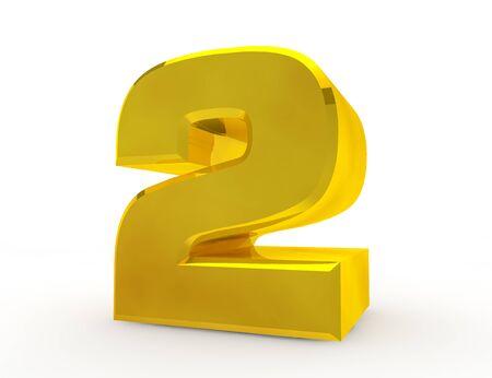 3d Gouden nummer 2 op witte achtergrond 3D-rendering