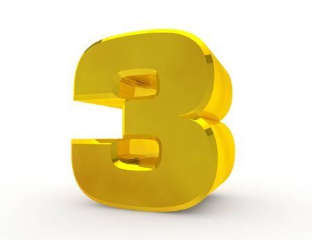3d Gold number 3 on white background 3d rendering Stock Photo