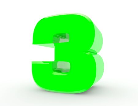 3d Green number 3 on white background 3d rendering