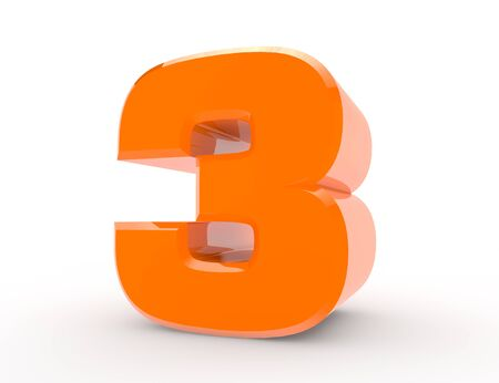 3d Orange number 3 on white background 3d rendering Stock Photo