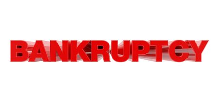 BANKRUPTCY red word on white background illustration 3D rendering Stockfoto